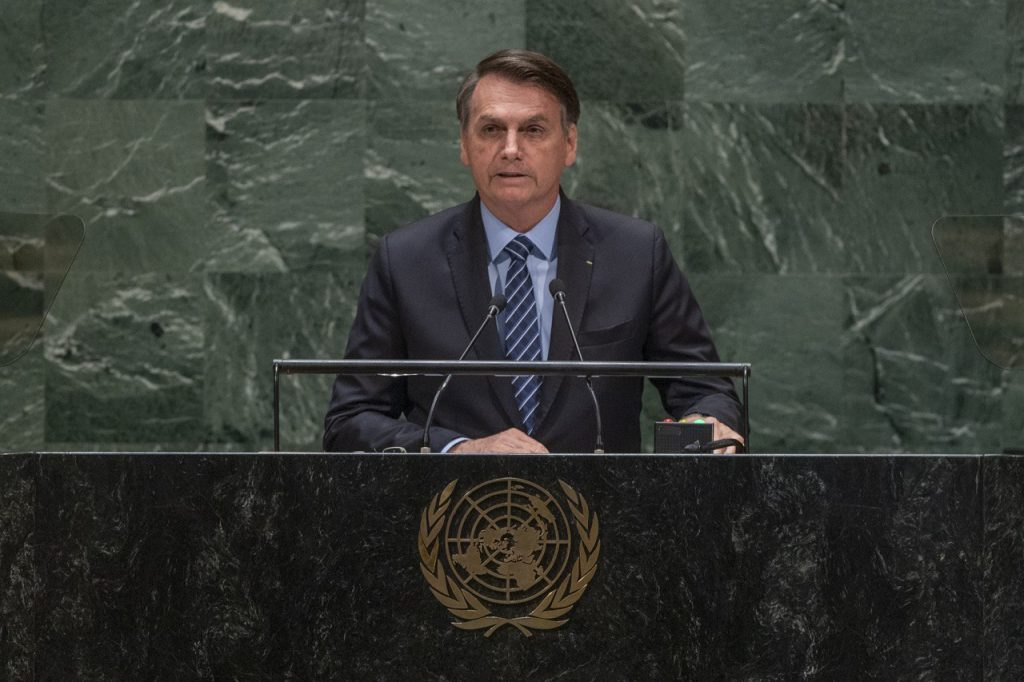 President Jair Bolsonaro giving a speech in New York, for the opening ceremony of the 2019 General Assembly
