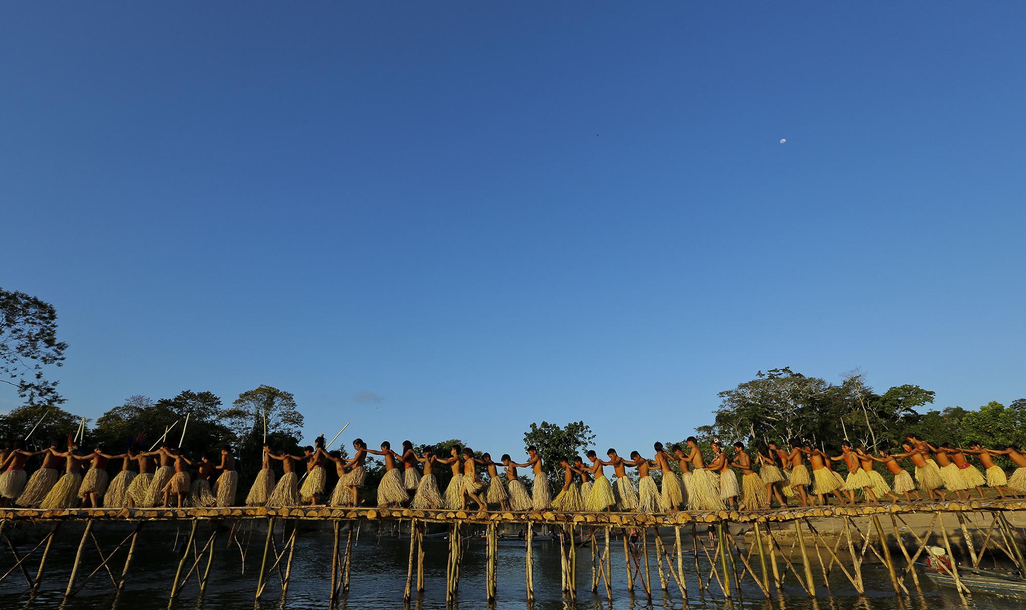 Indígenas Yawanawa do rio Gregório, no Acre. Foto Secom AC